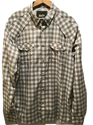 Men's Howler Brothers Gray Cream Vented Button Front Shirt Sz M