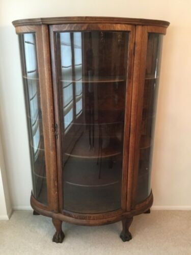 ANTIQUE CURIO CABINET Tiger Oak Curved Glass