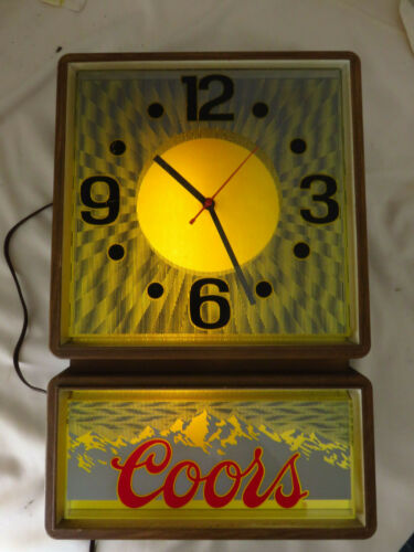 1985 Coors Clock + Sign w/ psychedelic motion optics  - Tested and working!