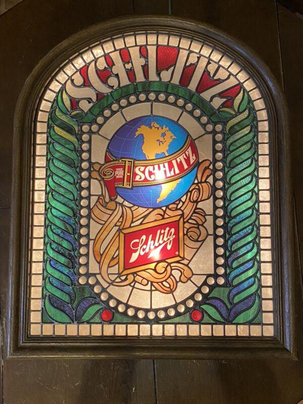 "VINTAGE SCHLITZ BEER SIGN ""Stained Glass"" LIGHTED BEER BAR SIGN MAN CAVE"