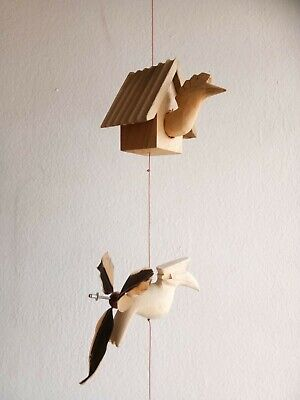 Bird House Wind Chime Mobile kinetic Hanging Eco Baby Nursery Décor Home Art  Eco Wind Chimes