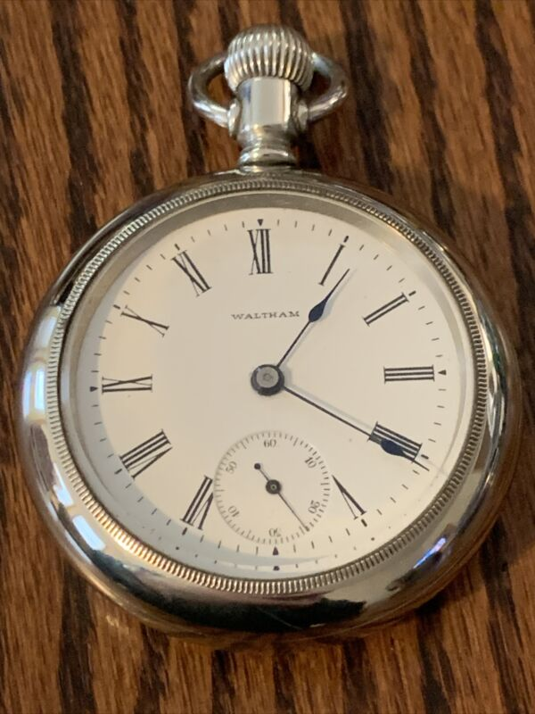 Waltham Pocket Watch, 18S,7 J,nickel Plate, Keystone Silveroid Case, Running.