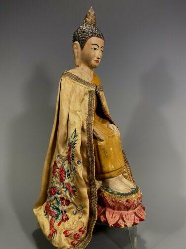 North Burma Burmese Shan Polychrome Gesso Buddha Figure w/ Silk cape ca. 20th c.