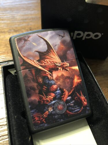 Zippo 49097 Anne Stokes Dragon Black Matte NEW in box Windproof Lighter F
