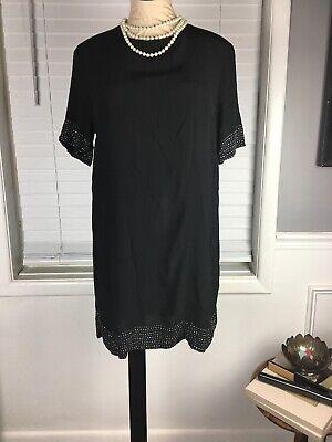 H&M Shift Dress 12 Black W Rhinestones