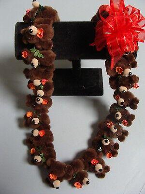 Hawaiian Dark Brown Teddy Bear Pom Pom Lei Graduation Gift Maile Red Flower (Maile Lei)