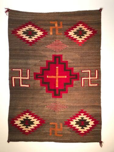 HISTORIC NAVAJO SERAPE-STYLE BLANKET / RUG,BEAUTIFUL BROWN VARIEGATED BACKGROUND