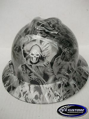 Grim Reaper Pattern Full Brim New Custom Msa V-gard Hard Hat Wfastrac Ratchet