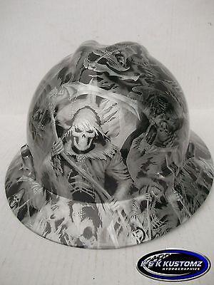 Grim Reaper Pattern Full Brim New Custom Msa V-gard Hard Hat Wfastrac Ratchet