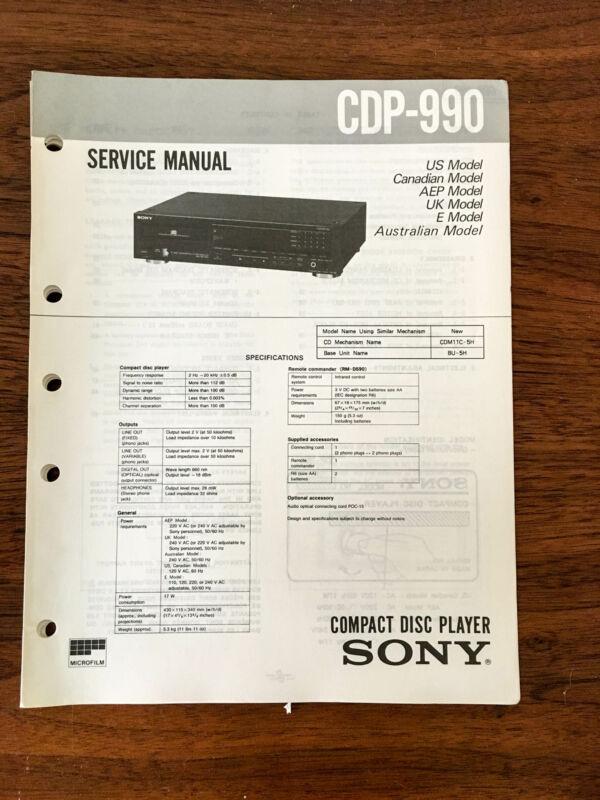 Sony CDP-990  Service Manual *Original*