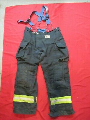 Morning Pride Fire Fighter Turnout Pants 42 X 32 Black Bunker Gear Suspenders