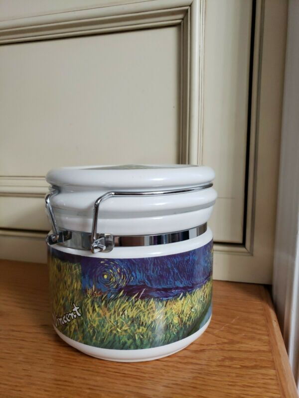 NEW/TAG~VINCENT VAN GOGH~Road w/Cypress~Porcelain HINGED SEALED CANISTER