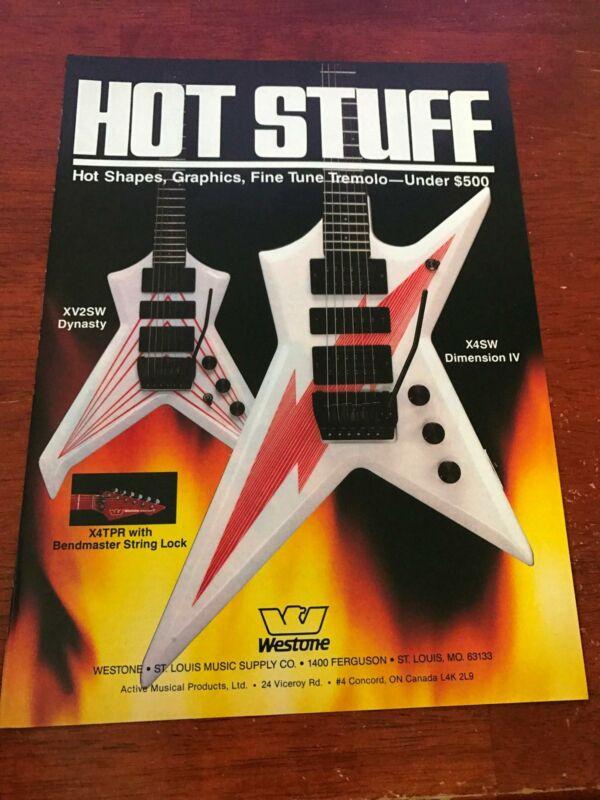 1985 VINTAGE 8X11 PRINT Ad FOR WESTONE GUITARS HOT STUFF DYNASTY +DIMENSION IV
