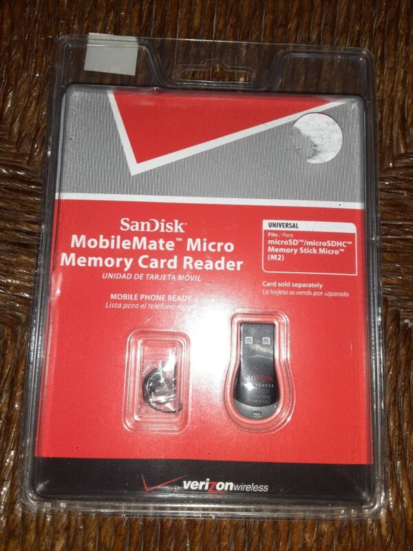 SanDisk Mobile Mate Micro Memory Card Reader New In Box Verizon SSDR-121S-V11M