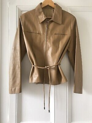 Beautiful 90s Vintage Italian Tan Leather Zip Up Jacket
