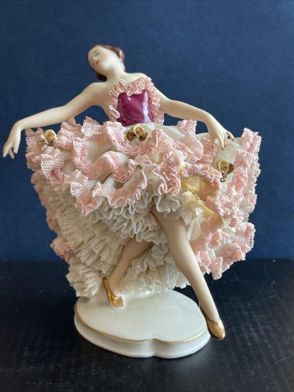 "1950s ALKA Kunst Dresden Decor  Lace Porcelain  5"" Figurine "" MELODIC"" Germany"