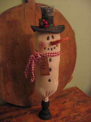 "Primitive Handcrafted Snowman Stump Doll 9/"" Shelf Sitter Princess Pine"
