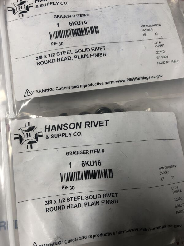 (150) Hanson Rivet 0.5 in Mild Steel Solid Rivet with Round Rivet Head Style