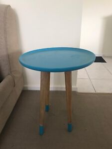 Blue round side table