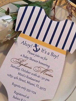 Set of 10 Nautical Theme Or Sailing Theme Boy or Girl Baby Shower Invitation
