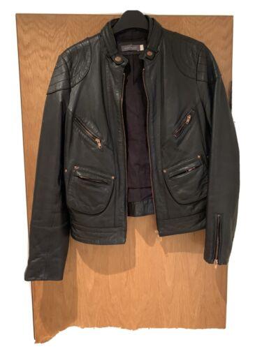 Black Mint Velvet Ladies Black Leather Biker Jacket size 12 Good Condition