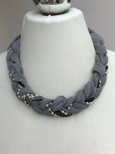 House+of+Fraser+NECKLACE+Ribbons+%2F+Chains+%2F+Beads+GREY+-+NEW+RRP+%C2%A320+-+REDUCED%21