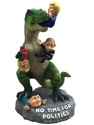 (Outdoor Garden Art Statue T-rex Dinosaur Enjoying Hillary & Trump Gag Gift)