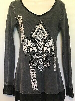 Vocal Women's Long Sleeve Thermal Tunic Top Western Fleur De Lis Bling Size S