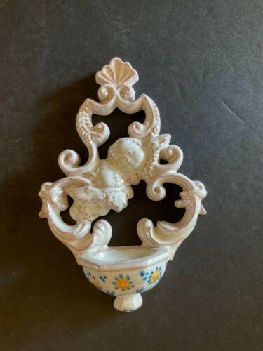 "Vintage VAL DEMONE Terracotta Art Pottery ""Cherubs"" Holy Water Font 6"" L"