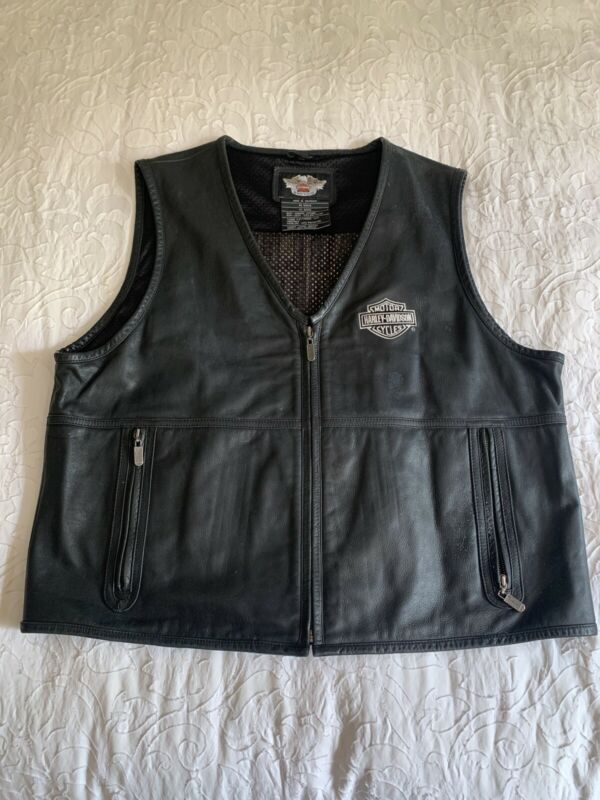 Harley Davidson VTG  mens black leather vest embroidered xxl Bike Motorcycle