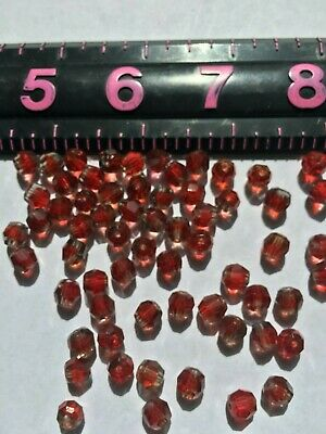 875 Ruby 7MM Round Face Cut Glass Crystal Beads Antique Vintage