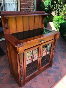 Handmade Solid timber Chiffonier with leadlight doors and slate top
