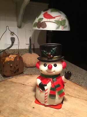 Vtg Christmas Decoration Plastic Snowman Nose Lights Up Red Blinks Frosty Rare!!