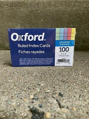Oxford Ruled Index Cards 3x 5- 100 Pack Assorted Colors