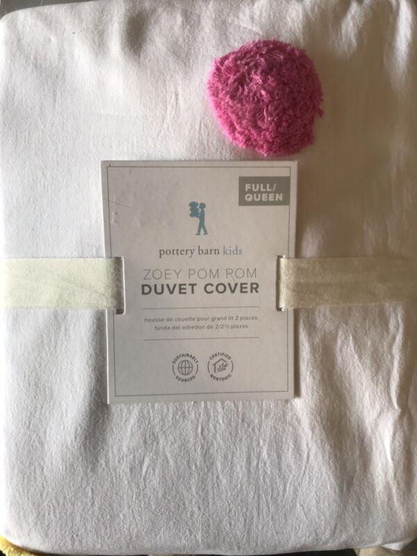 Pottery Barn Kids FULL QUEEN F/Q ZOEY POM POM Comforter Duvet Cover Multi NEW