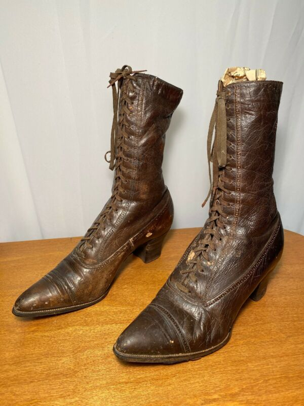 Antique Victorian Utz & Dunn Leather High Heel Lace Up Boots