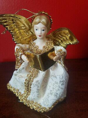 "Vintage Gold Brocade Christmas Ornament Tree Branch Topper Porcelain Face 5"""