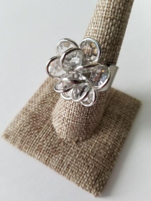 Crystal Flower Rose Adjustable Ring Vintage Silver Tone Fashion Rings Size 8