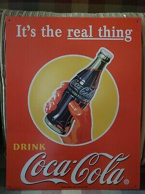 Coca Cola Coke Real Thing Bottle Advertising Vintage Retro Style Metal Tin Sign