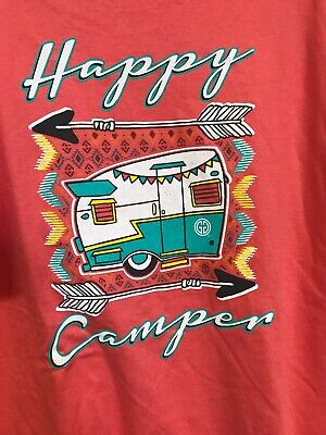 Used, HAPPY CAMPER arrows camping travel trailer Ladies 3XL Coral orange T-shirt NEW for sale  Spencer
