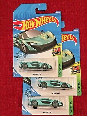 Hot Wheels Lot of 3! McLaren P1 (Magic Green) HW Exotics 9/10 2020 H Case #149