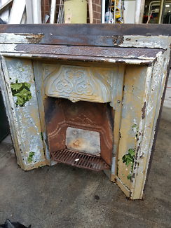 Victorian cast iron antique fire place surround with tiles Coburg North Moreland Area Preview