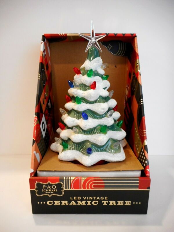 """Vintage-Style Ceramic Lighted Christmas Tree by FAO SCHWARZ 12"""" Battery Operated"""