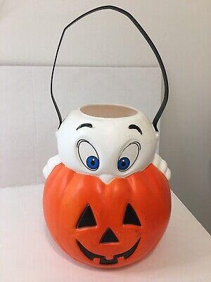Vintage Empire Blow Mold Casper Ghost Pumpkin Halloween Trick/Treat Bucket Pail