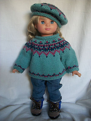 """18"""" Doll Knitting Pattern will fit American Girl Icelandic Sweater & Tam Hat"""