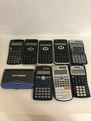 Calculator Lot - 8 Calculators & Radio Shack Hoop Commander Casio Sharp Texas