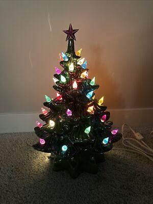 "Vintage Large 14"" Ceramic Light Up Christmas Tree w/ base WORKS"