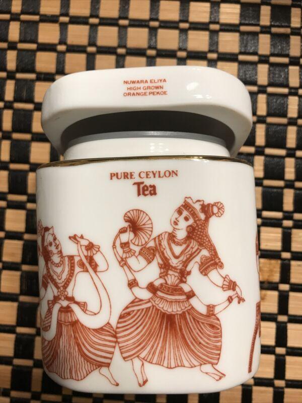 MLESNA Lanka Porcelain TEA Caddy Canister Jar Traditional Decor - GREAT!