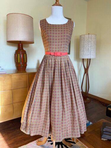 50s Dress Cotton Sundress Autumn Colored 1950