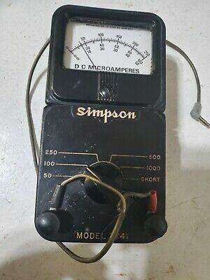 Vintage Simpson Model 374 Dc Amp Meter Microamperes Usa Made